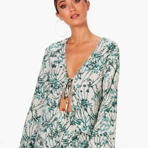 Boohoo floral woven tie vacation blouse